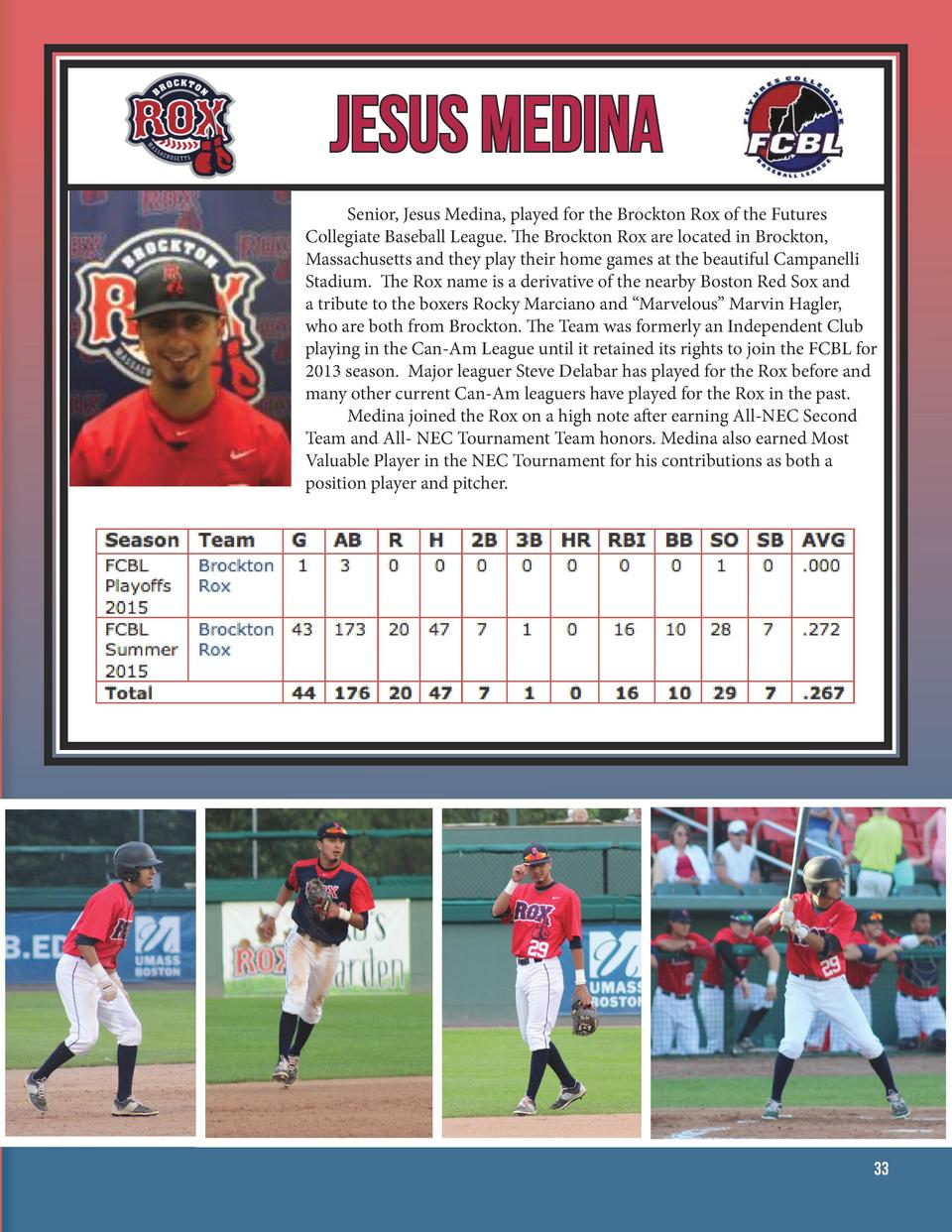 Jesus Medina   Senior, Jesus Medina, played for the Brockton Rox of the Futures Collegiate Baseball League. The Brockto...