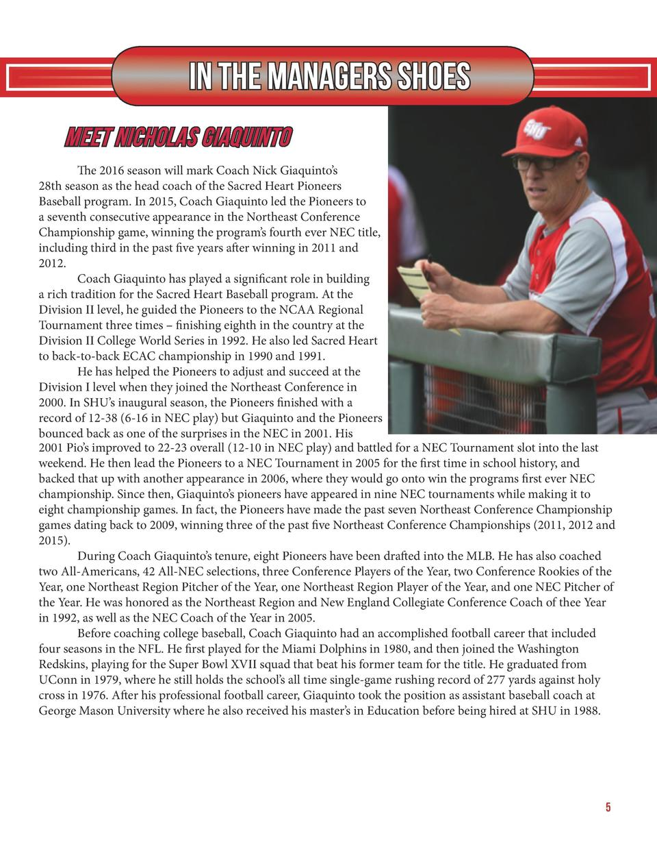 In The Managers Shoes Meet Nicholas Giaquinto   The 2016 season will mark Coach Nick Giaquinto   s 28th season as the head...
