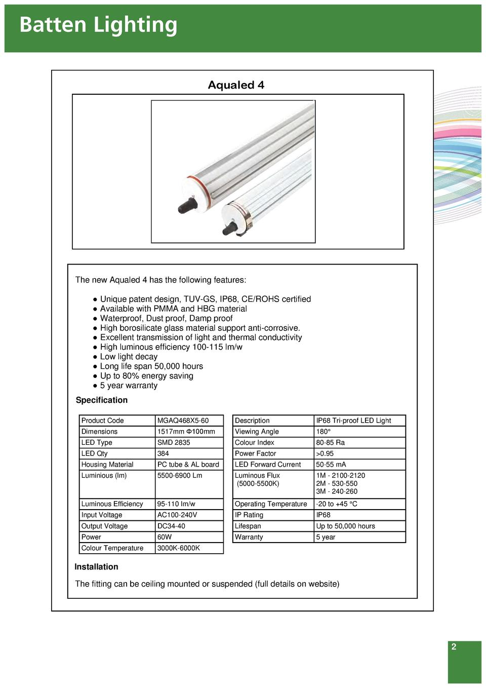 Mg Lites 4th Edition 2014 Hot Led Tube Circuit 4ft Light Diagram Batten Lighting Aqualed 4 The New Has Following Features