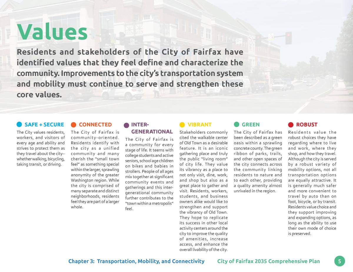 Values Residents and stakeholders of the City of Fairfax have identified values that they feel define and characterize the...