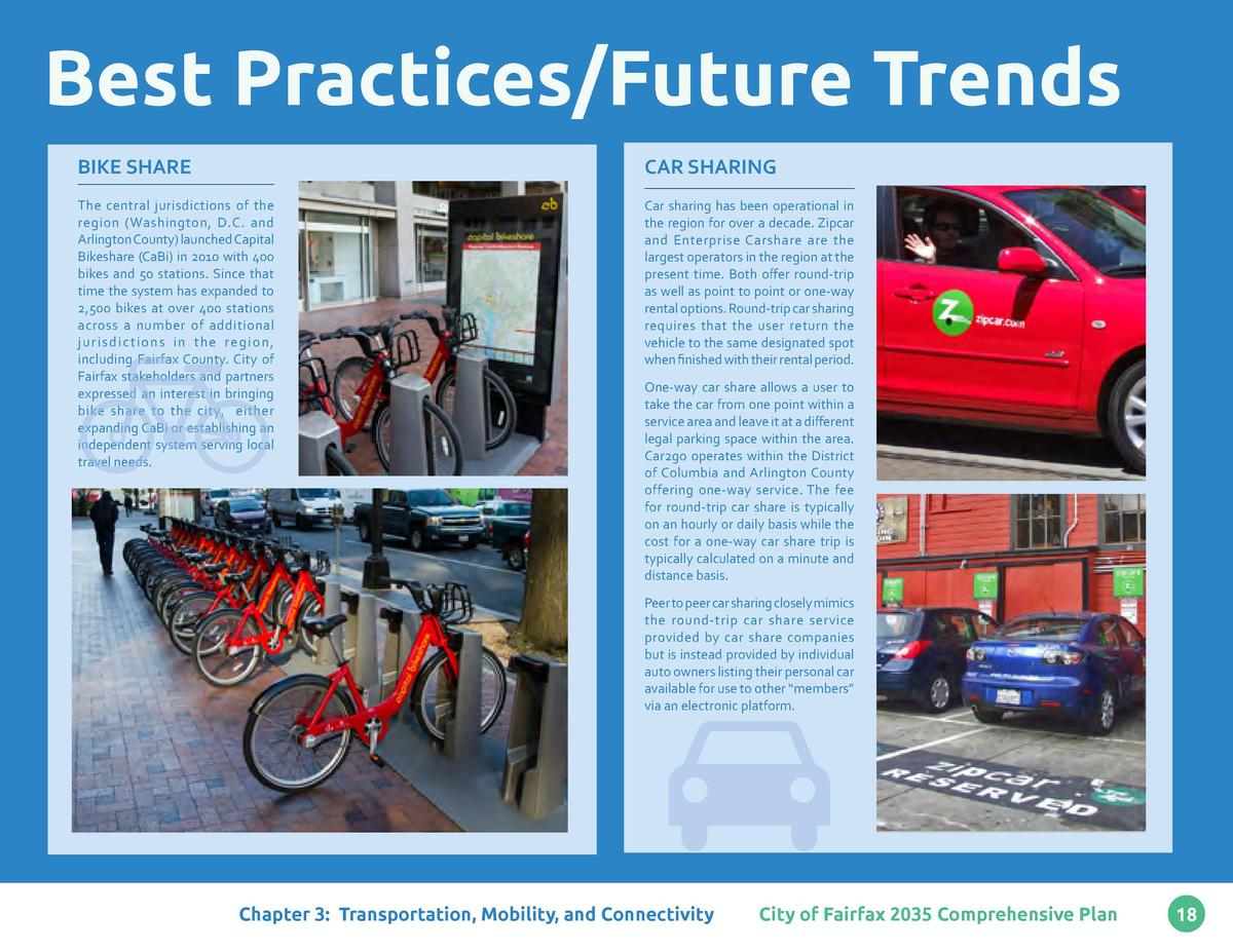 Best Practices Future Trends BIKE SHARE  CAR SHARING  The central jurisdictions of the region  Washington, D.C. and Arling...