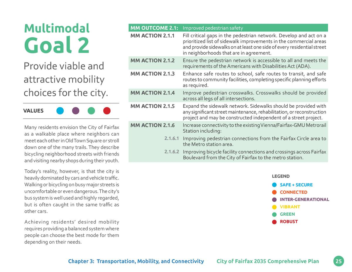 Multimodal  Goal 2 Provide viable and attractive mobility choices for the city. VALUES Many residents envision the City of...
