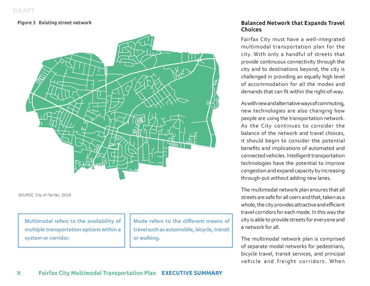 DRAFT Balanced Network that Expands Travel Choices  Figure 3 Existing street network  Fairfax City must have a well-integr...