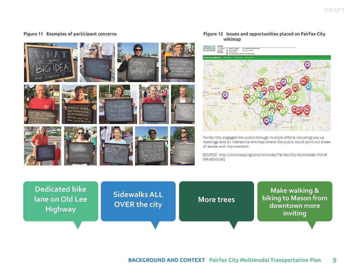 DRAFT  Figure 11 Examples of participant concerns  Figure 12 Issues and opportunities placed on Fairfax City wikimap  Fair...
