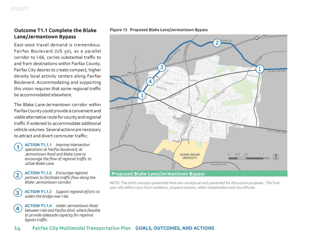 DRAFT  2  ACTION T1.1.2    Encourage regional partners to facilitate traffic flow along the Blake -Jermantown corridor.  3...
