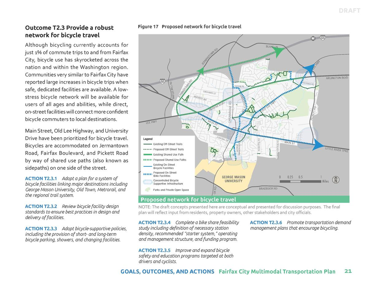 DRAFT Figure 17 Proposed network for bicycle travel     Outcome T2.3 Provide a robust network for bicycle travel  ACTION T...