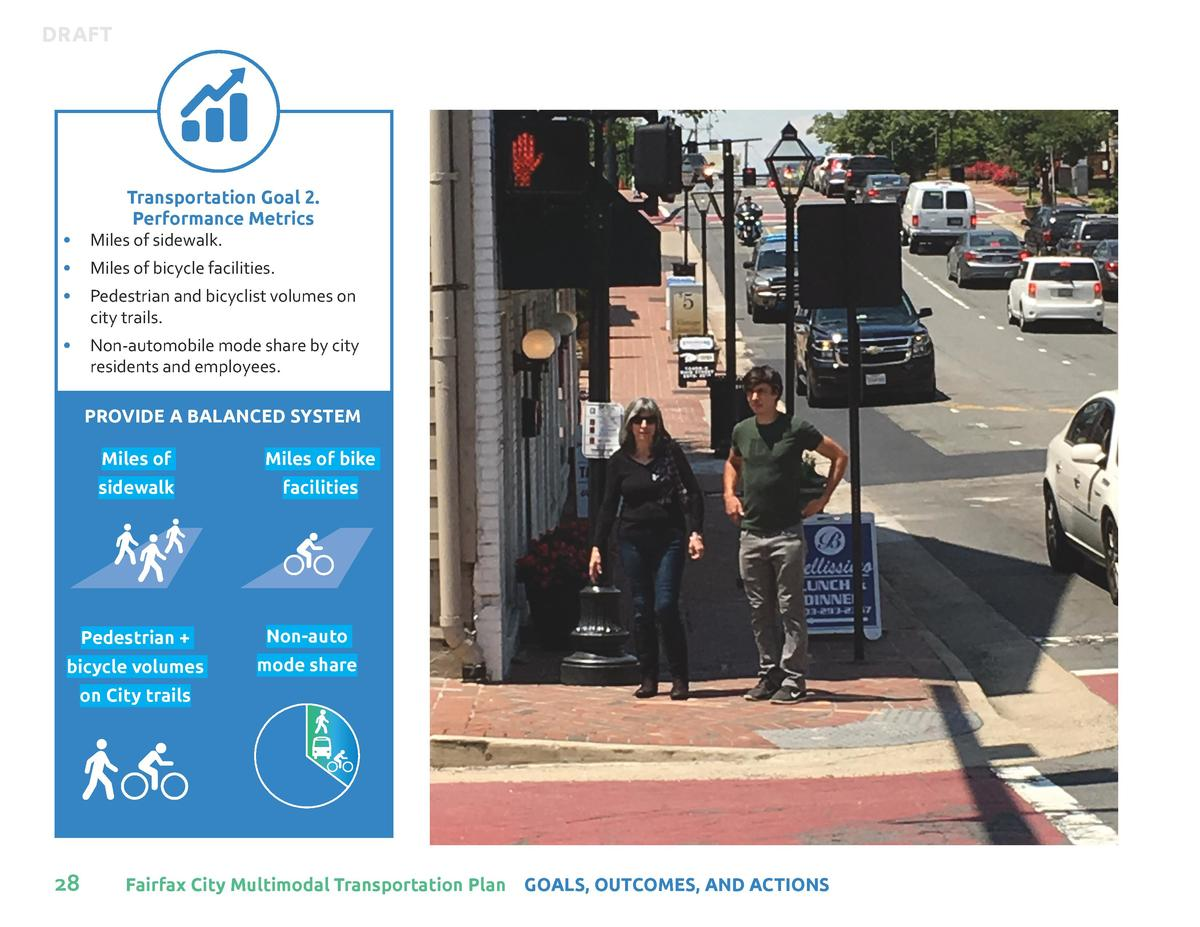 DRAFT  Transportation Goal 2. Performance Metrics      Miles of sidewalk.      Miles of bicycle facilities.      Pedestria...