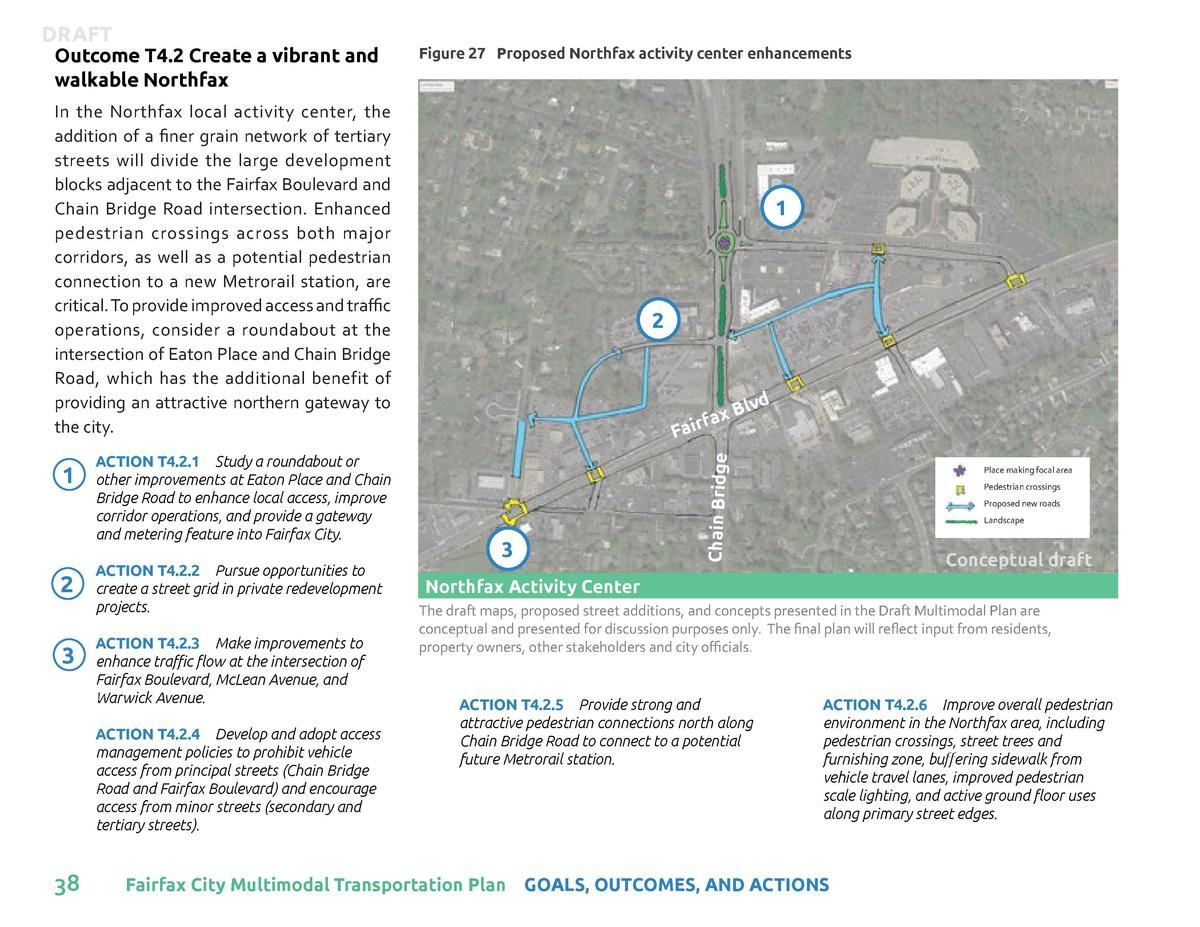 Outcome T4.2 Create a vibrant and walkable Northfax  Figure 27 Proposed Northfax activity center enhancements  In the Nort...