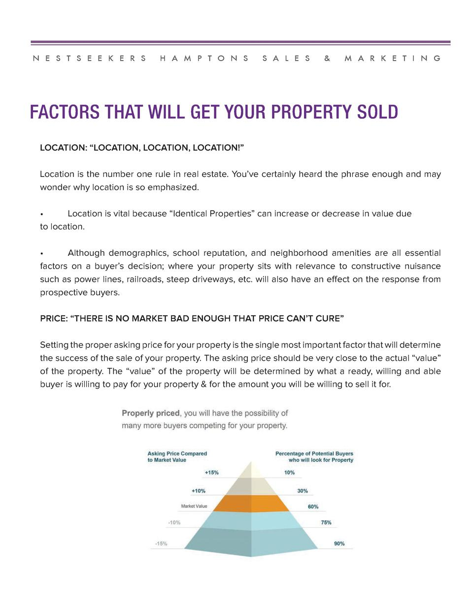 N E S T S E E K E R S  H A M P T O N S  S A L E S     M A R K E T I N G  FACTORS THAT WILL GET YOUR PROPERTY SOLD LOCATION...