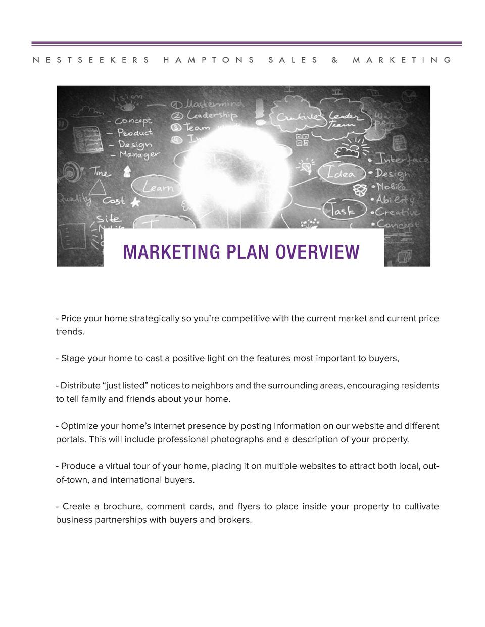 N E S T S E E K E R S  H A M P T O N S  S A L E S     M A R K E T I N G  MARKETING PLAN OVERVIEW  - Price your home strate...