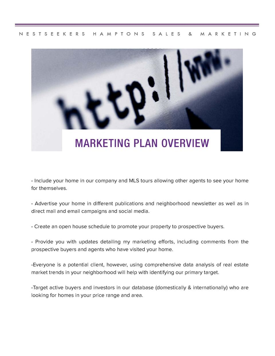 N E S T S E E K E R S  H A M P T O N S  S A L E S     M A R K E T I N G  MARKETING PLAN OVERVIEW  - Include your home in o...