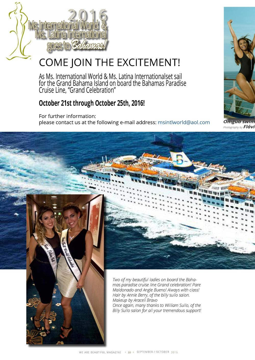 2 0 16  Ms International World   Ms. Latina International goes to Bahamas  COME JOIN THE EXCITEMENT  As Ms. International ...