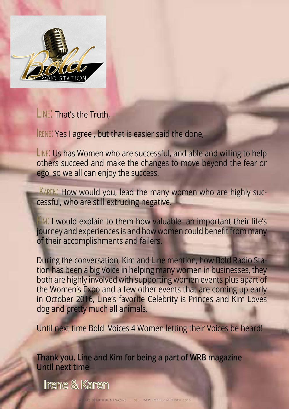 Line  That   s the Truth, Irene  Yes I agree , but that is easier said the done, Line  Us has Women who are successful, an...