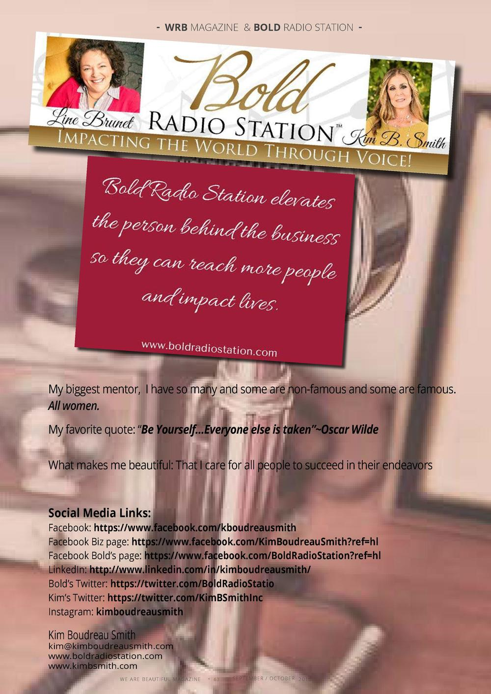 - WRB MAGAZINE   BOLD RADIO STATION -  My biggest mentor, I have so many and some are non-famous and some are famous. All ...