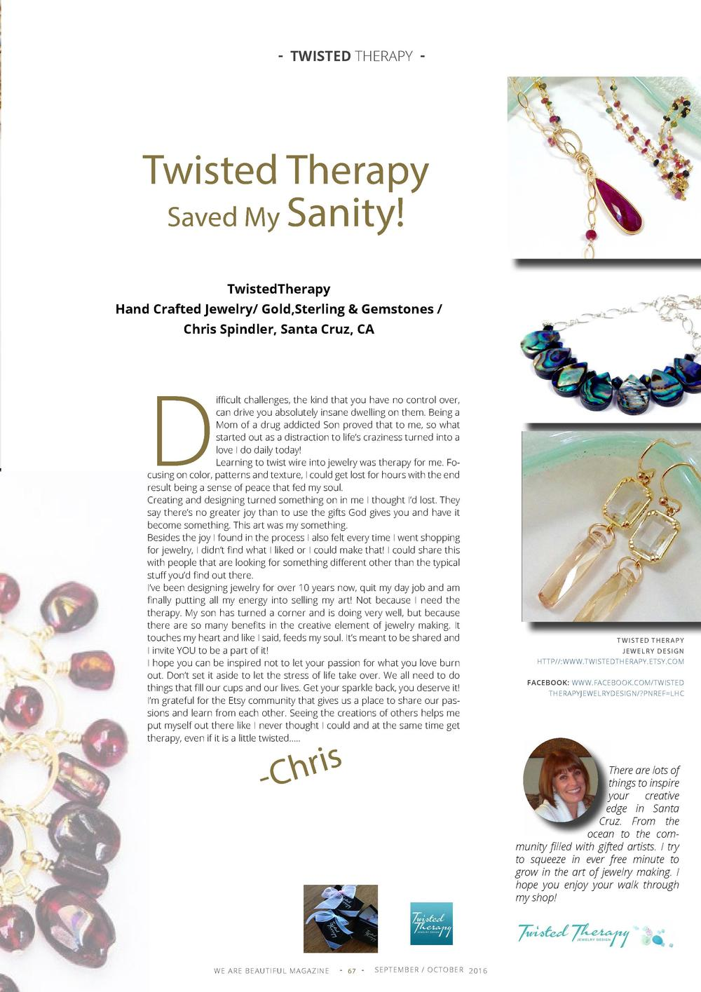 - TWISTED THERAPY -  Twisted Therapy Saved My Sanity  TwistedTherapy Hand Crafted Jewelry  Gold,Sterling   Gemstones   Chr...