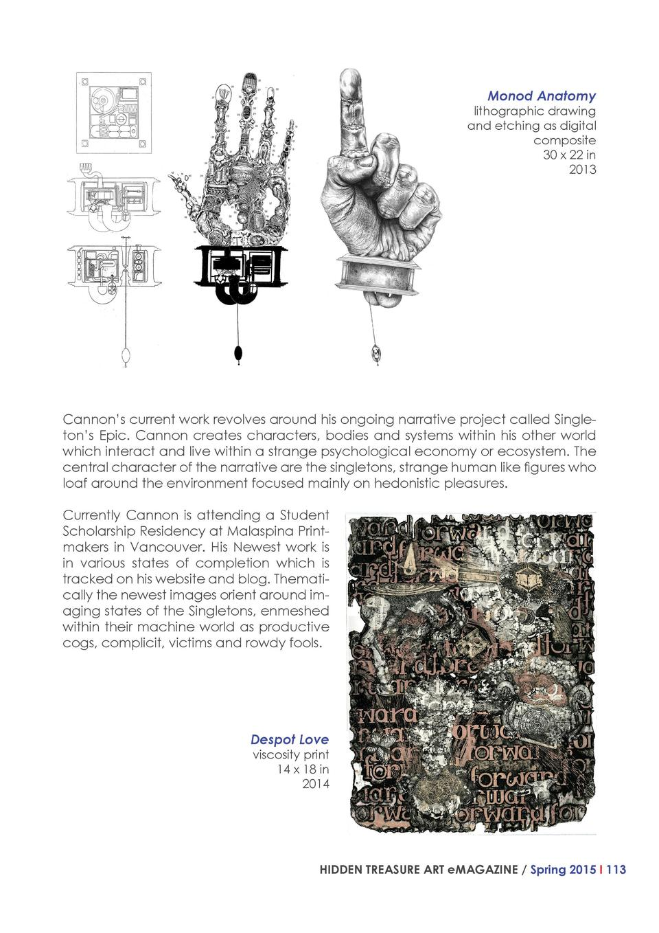 Monod Anatomy  lithographic drawing and etching as digital composite 30 x 22 in 2013  Cannon   s current work revolves aro...
