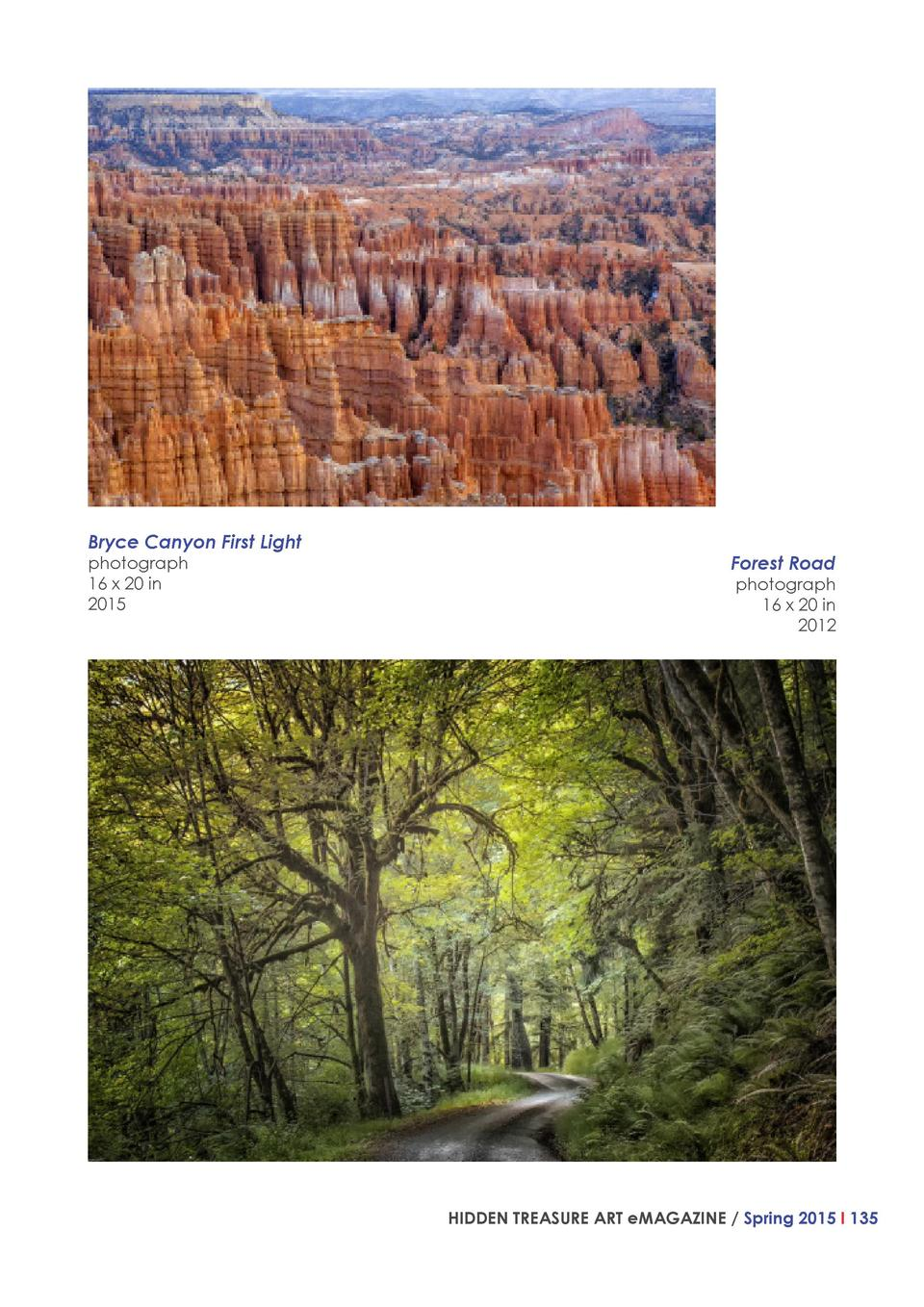Bryce Canyon First Light photograph 16 x 20 in 2015  Forest Road  photograph 16 x 20 in 2012  HIDDEN TREASURE ART eMAGAZIN...