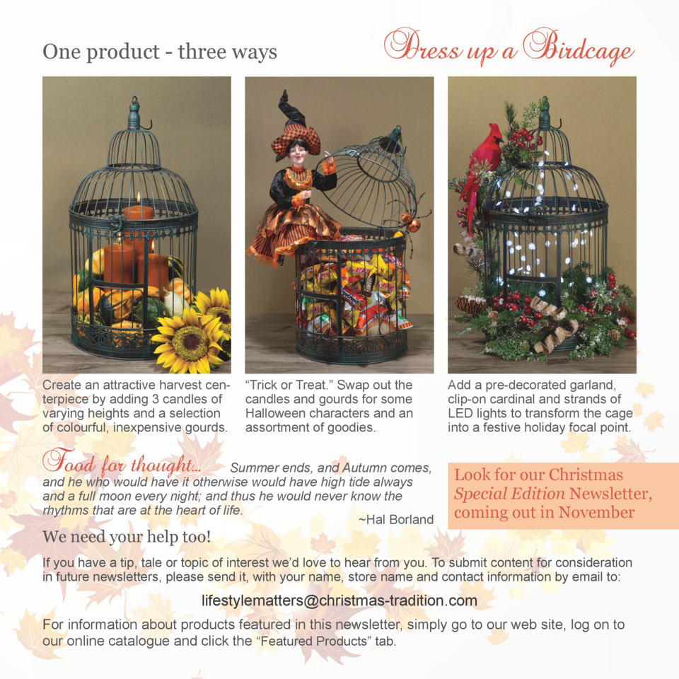 One product - three ways  Create an attractive harvest centerpiece by adding 3 candles of varying heights and a selection ...
