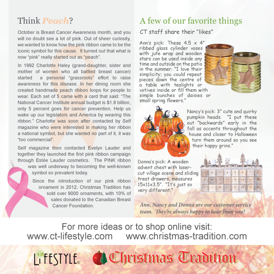 Think Peach   A few of our favorite things  October is Breast Cancer Awareness month, and you will no doubt see a lot of p...