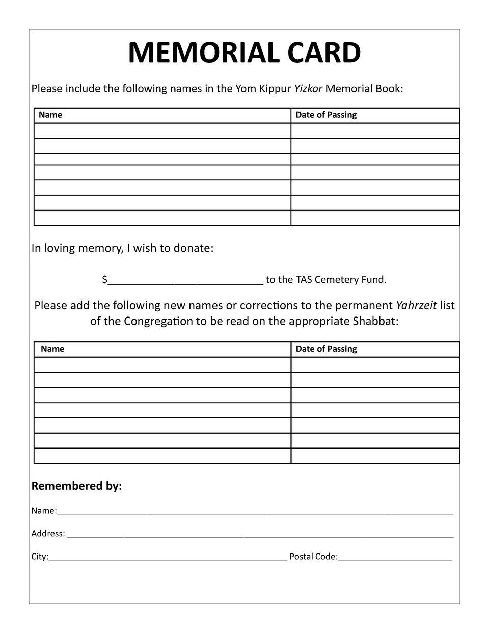 MEMORIAL CARD Please include the following names in the Yom Kippur Yizkor Memorial Book  Name  Date of Passing  In loving ...