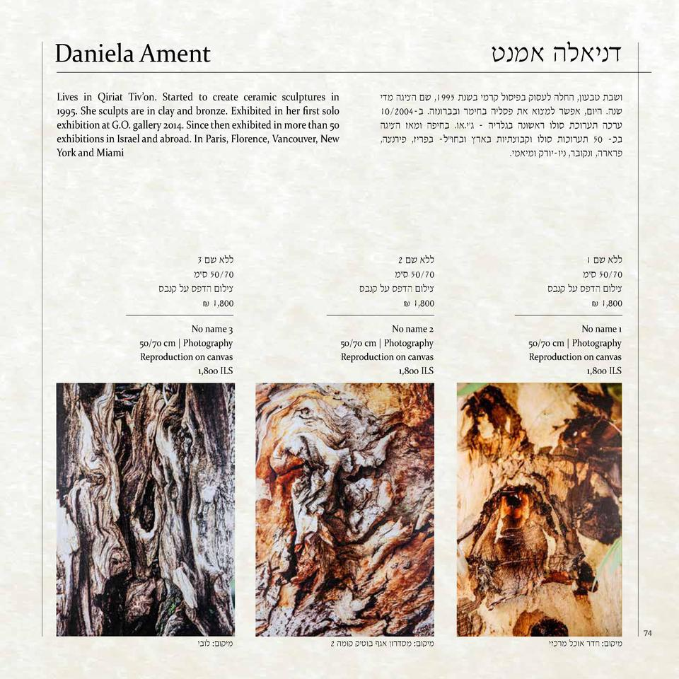 Daniela Ament Lives in Qiriat Tiv   on. Started to create ceramic sculptures in 1995. She scu...