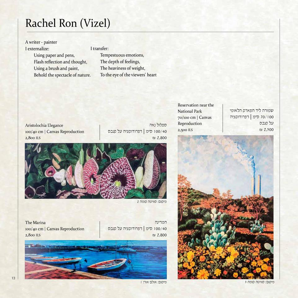 Rachel Ron  Vizel  A writer - painter I transfer  I externalize  Tempestuous emotions, Using paper and pens, The depth of ...