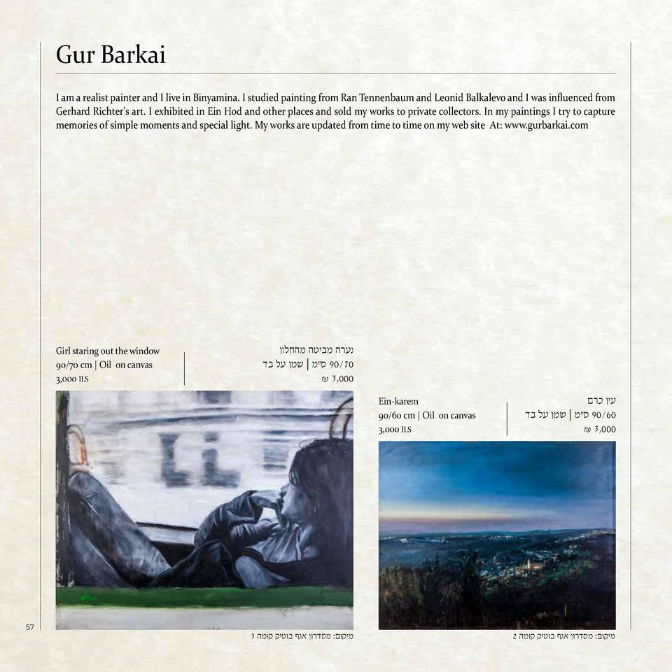 Gur Barkai I am a realist painter and I live in Binyamina. I studied painting from Ran Tennenbaum and Leonid Balkalevo and...
