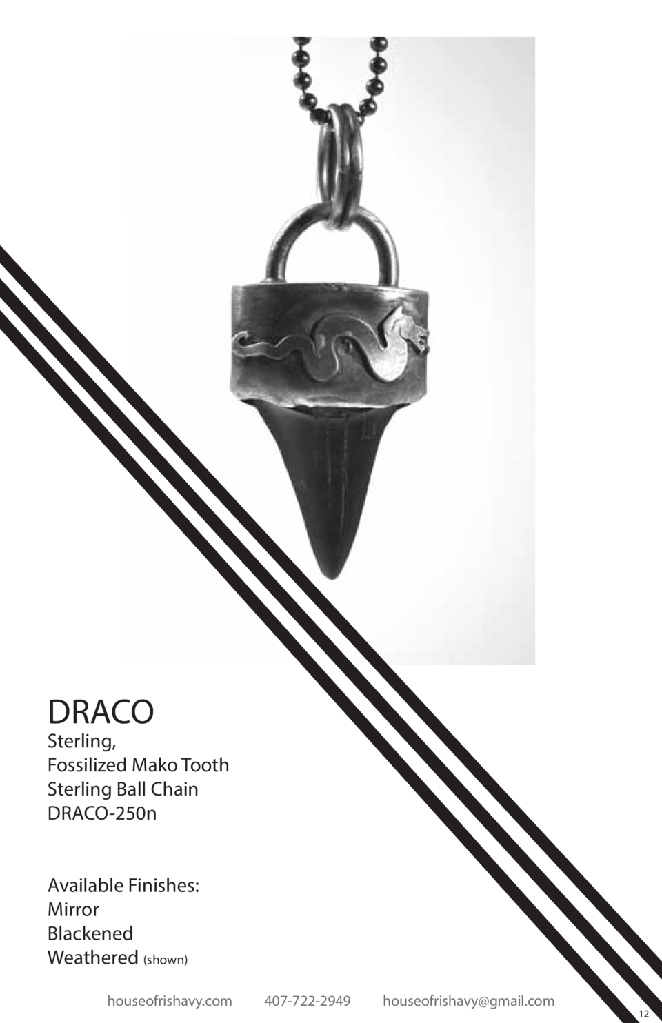 DRACO  Sterling, Fossilized Mako Tooth Sterling Ball Chain DRACO-250n Available Finishes  Mirror Blackened Weathered  show...