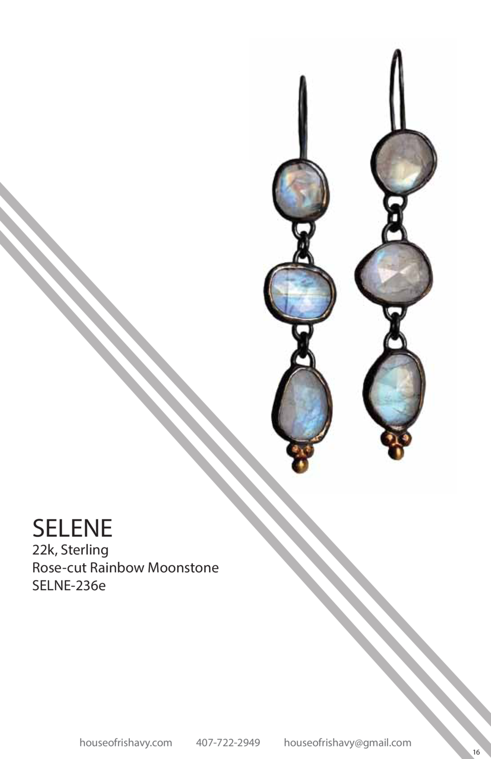 SELENE  22k, Sterling Rose-cut Rainbow Moonstone SELNE-236e  houseofrishavy.com  407-722-2949  houseofrishavy gmail.com  1...