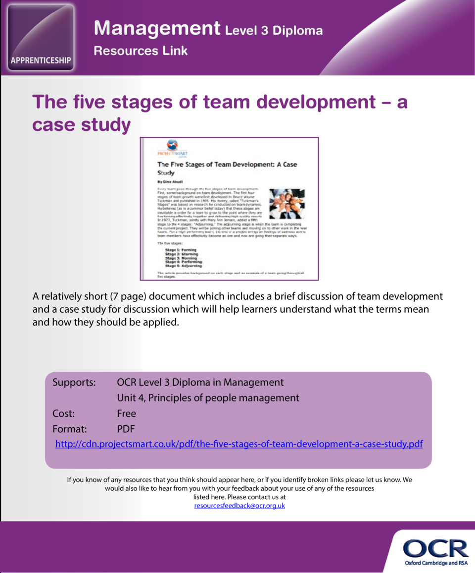 All about team building  The five stages of team development     a case study  A free resource which provides a range of g...