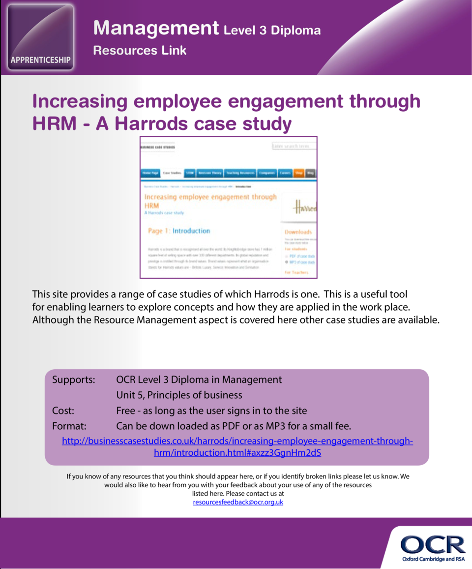 Resource Management     what do I need to know   Increasing employee engagement through HRM - A Harrods case study  An int...