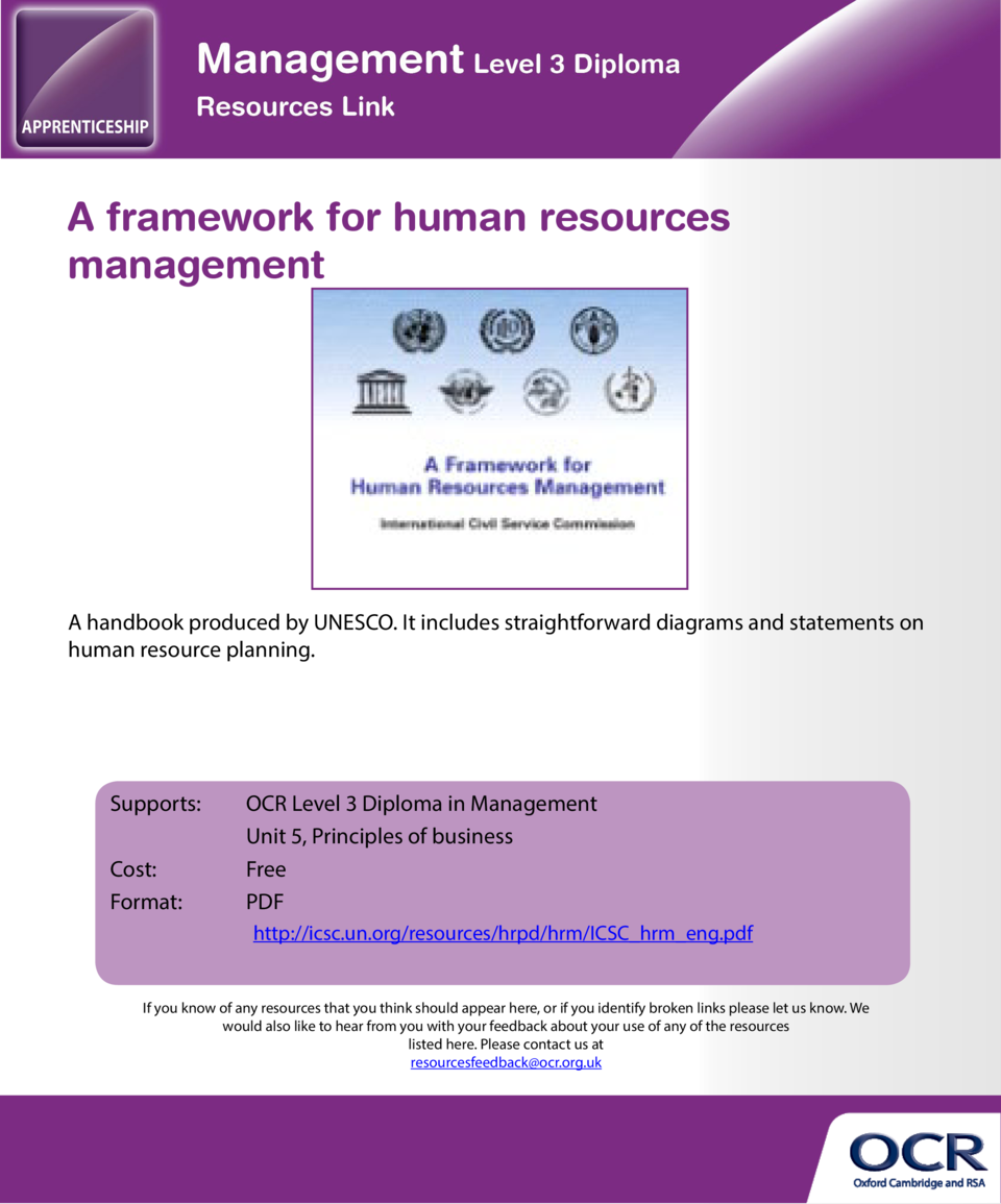 A framework for human resources management  KPMG   s 10 steps to strategic workforce planning  A handbook produced by UNES...