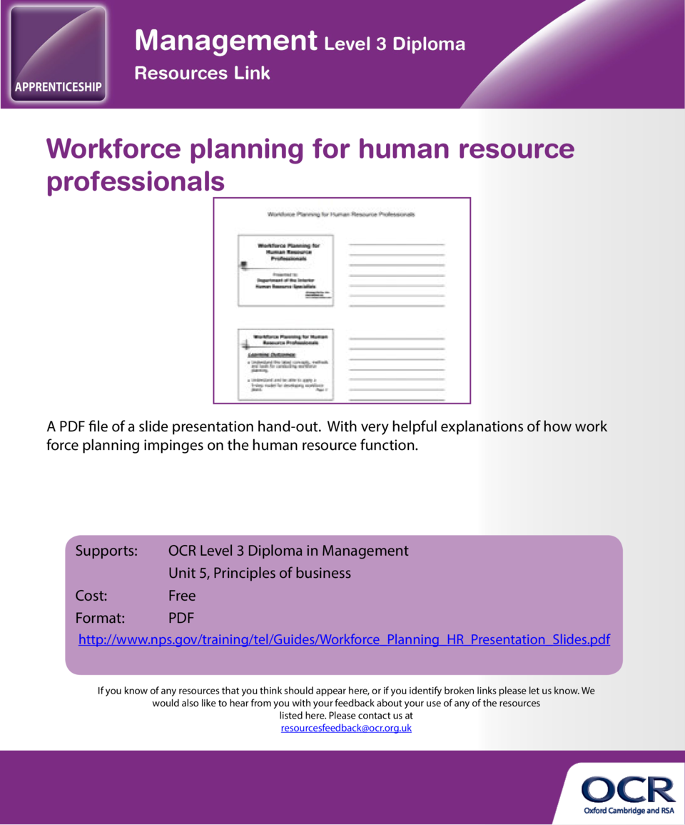 Workforce planning for human resource professionals  Corporate social responsibility  A PDF file of a slide presentation h...