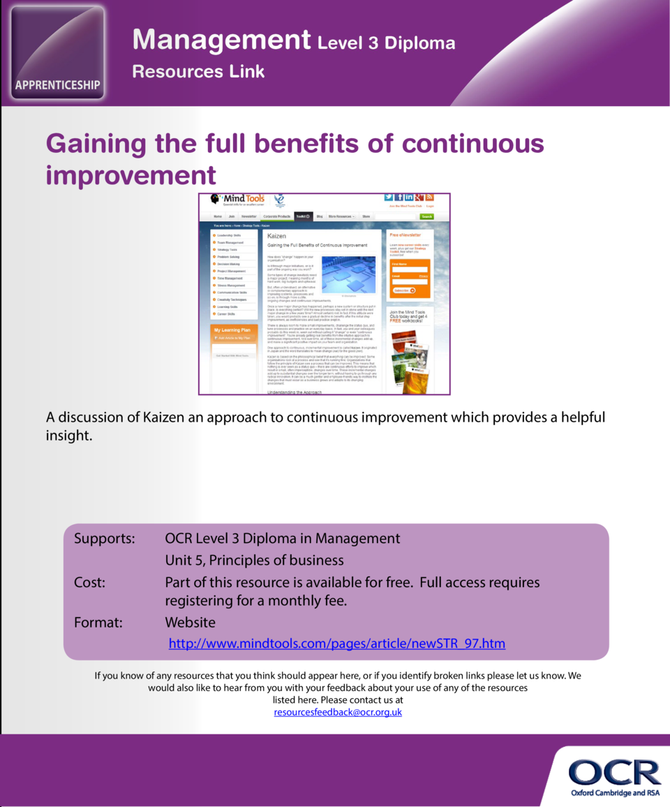Corporate responsibility  Gaining the full benefits of continuous improvement  A CIPD fact sheet with links to other usefu...