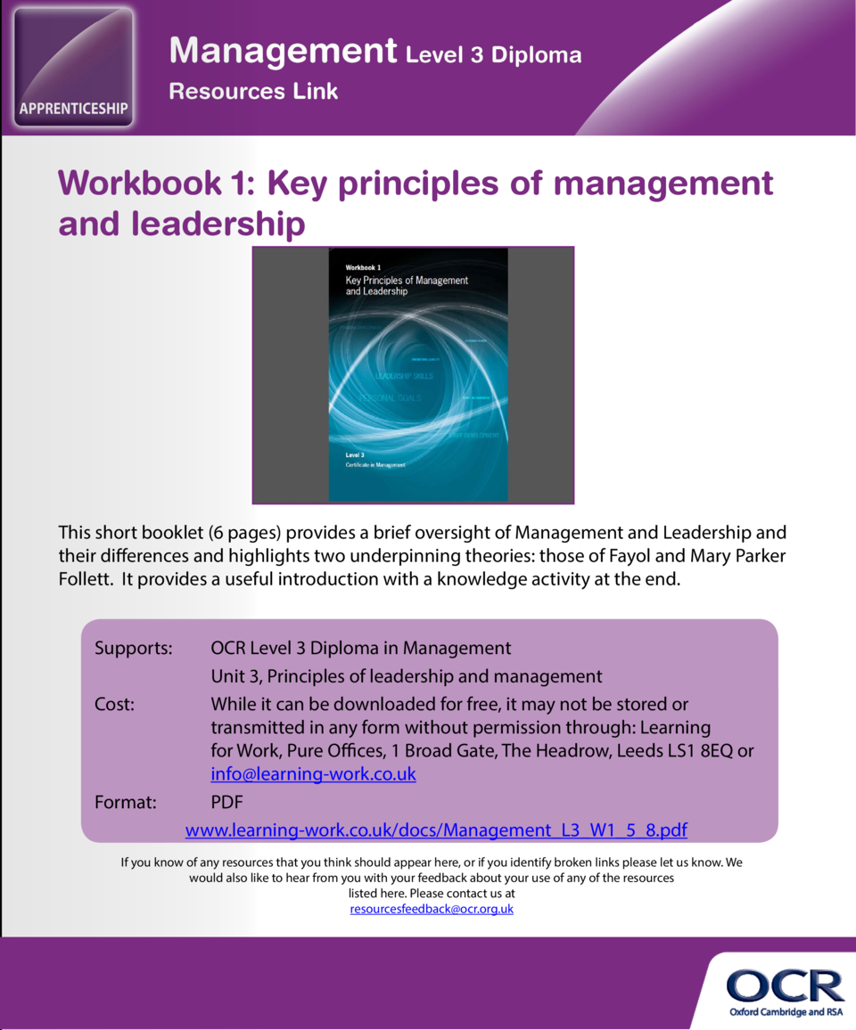 WELCOME  Workbook 1  Key principles of management and leadership  Resources Link is an e-resource, provided by OCR, for te...