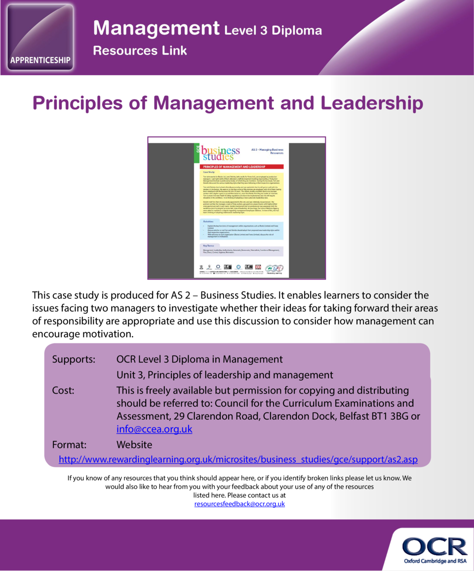 Principles of Management and Leadership  Problem-solving and decision-making  This case study is produced for AS 2     Bus...