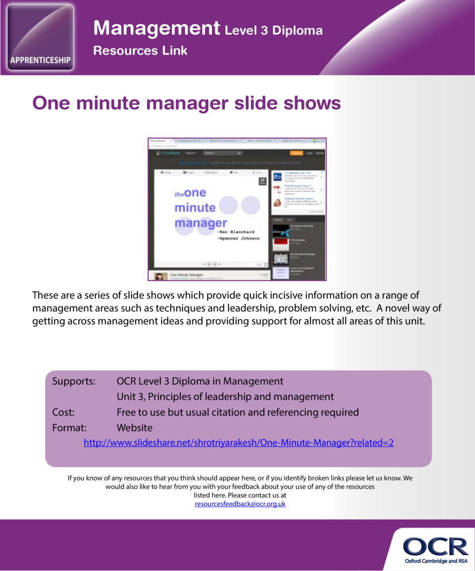 One minute manager slide shows  Basic management models and theories  These are a series of slide shows which provide quic...