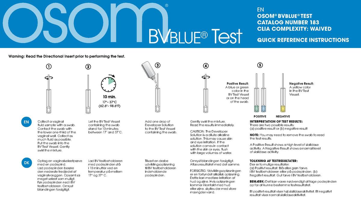 BVBLUE   Test  EN OSOM   BVBLUE   TEST CATALOG NUMBER 183 CLIA COMPLEXITY  WAIVED QUICK REFERENCE INSTRUCTIONS  Warnin...
