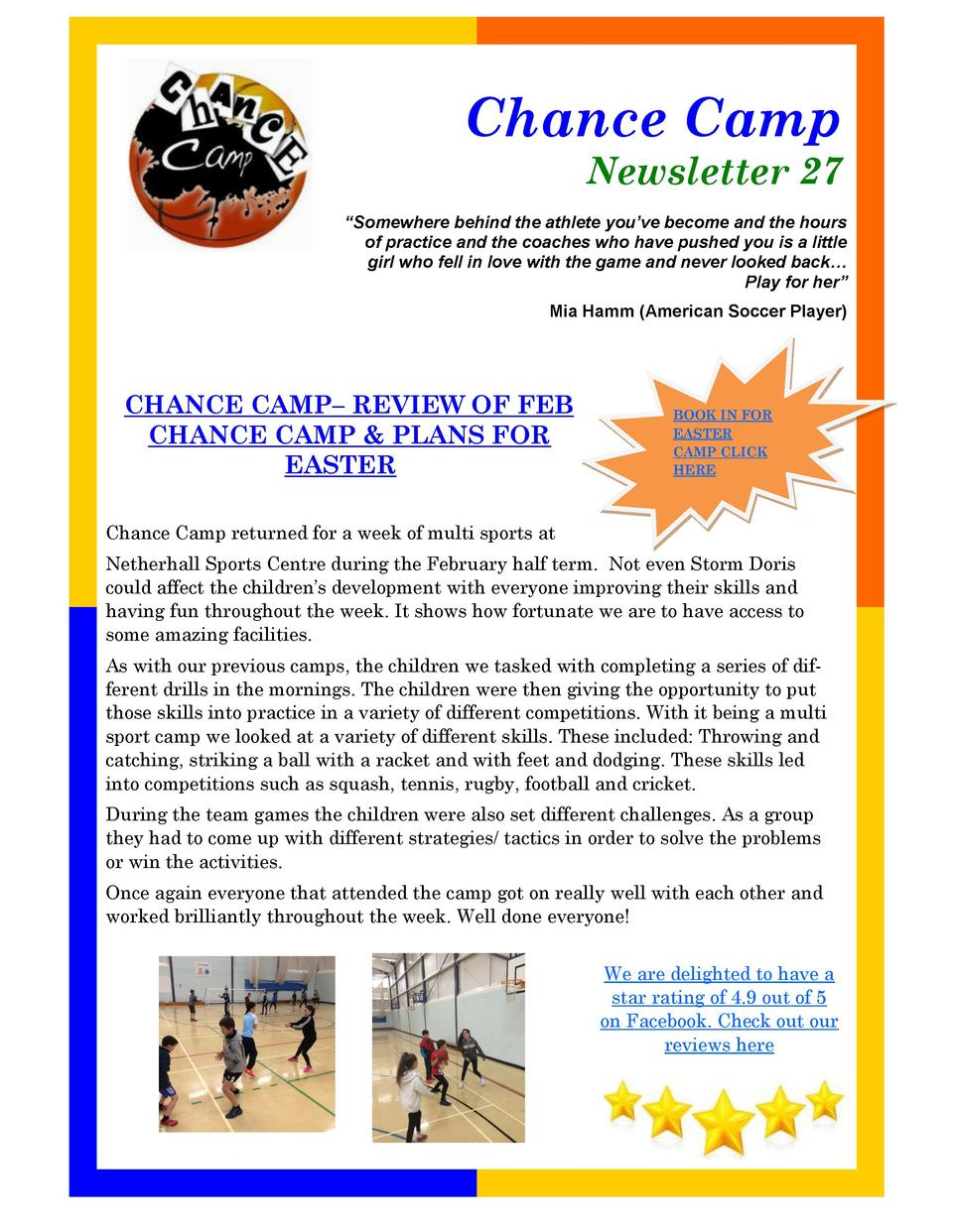 Chance Camp Newsletter 27    Somewhere behind the athlete you   ve become and the hours of practice and the coaches who ha...