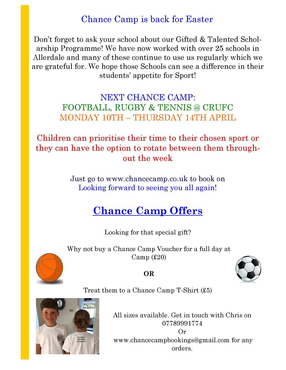 Chance Camp is back for Easter Don   t forget to ask your school about our Gifted   Talented Scholarship Programme  We hav...