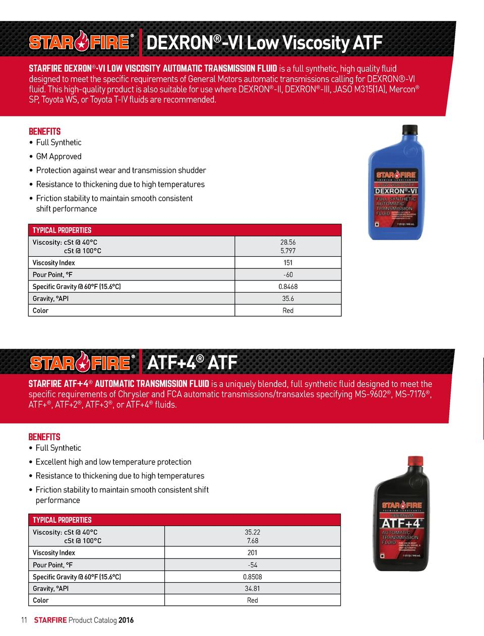 DEXRON  -VI Low Viscosity ATF STARFIRE DEXRON  -VI LOW VISCOSITY AUTOMATIC TRANSMISSION FLUID is a full synthetic, high qu...