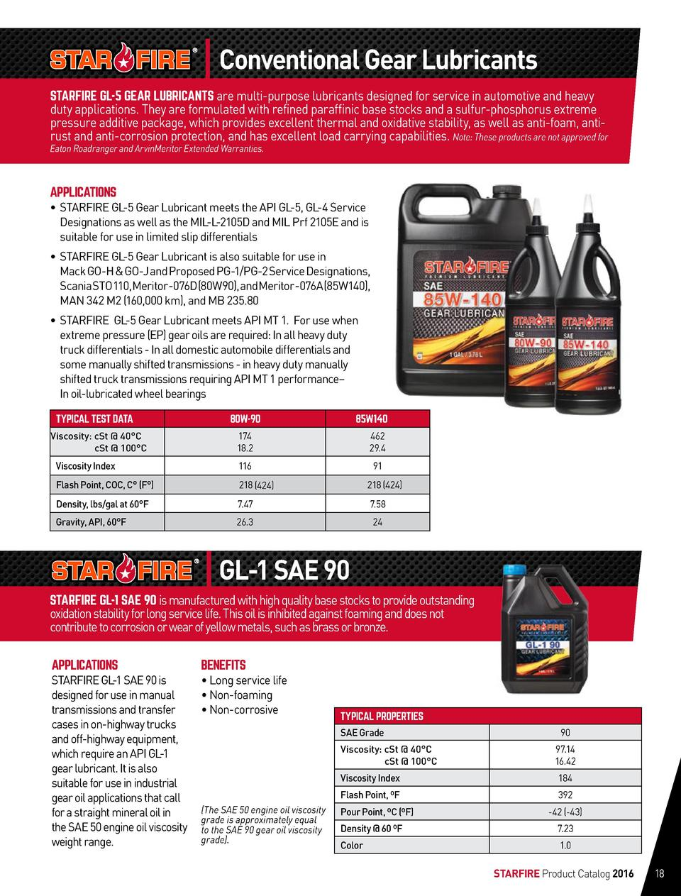 Conventional Gear Lubricants STARFIRE GL-5 GEAR LUBRICANTS are multi-purpose lubricants designed for service in automotive...