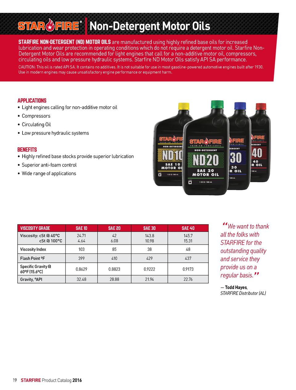 Non-Detergent Motor Oils STARFIRE NON-DETERGENT  ND  MOTOR OILS are manufactured using highly refined base oils for increa...