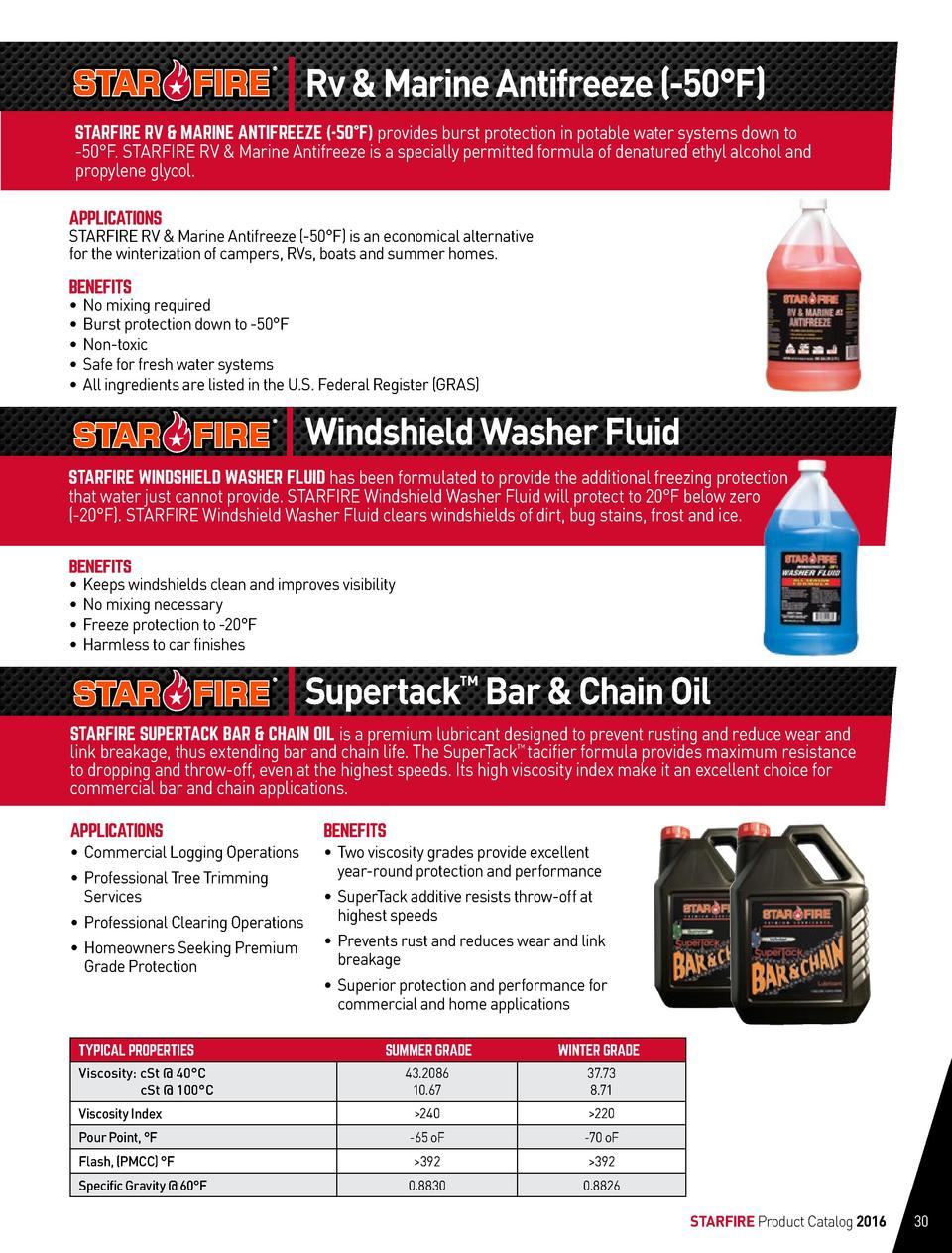 Rv   Marine Antifreeze  -50  F  STARFIRE RV   MARINE ANTIFREEZE  -50  F  provides burst protection in potable water system...