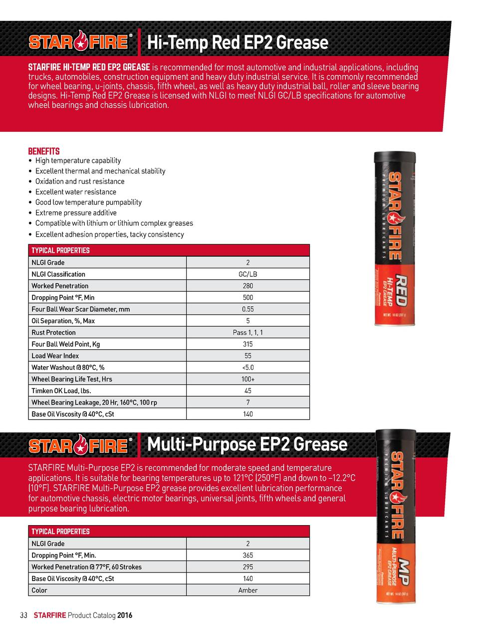 Hi-Temp Red EP2 Grease STARFIRE HI-TEMP RED EP2 GREASE is recommended for most automotive and industrial applications, inc...