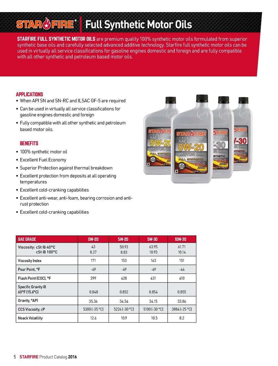 Full Synthetic Motor Oils STARFIRE FULL SYNTHETIC MOTOR OILS are premium quality 100  synthetic motor oils formulated from...
