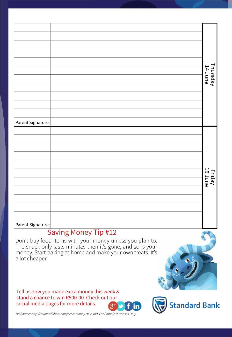 Thursday 14 June  Parent Signature   Friday 15 June  Parent Signature   Saving Money Tip  12  Don   t buy food items with ...
