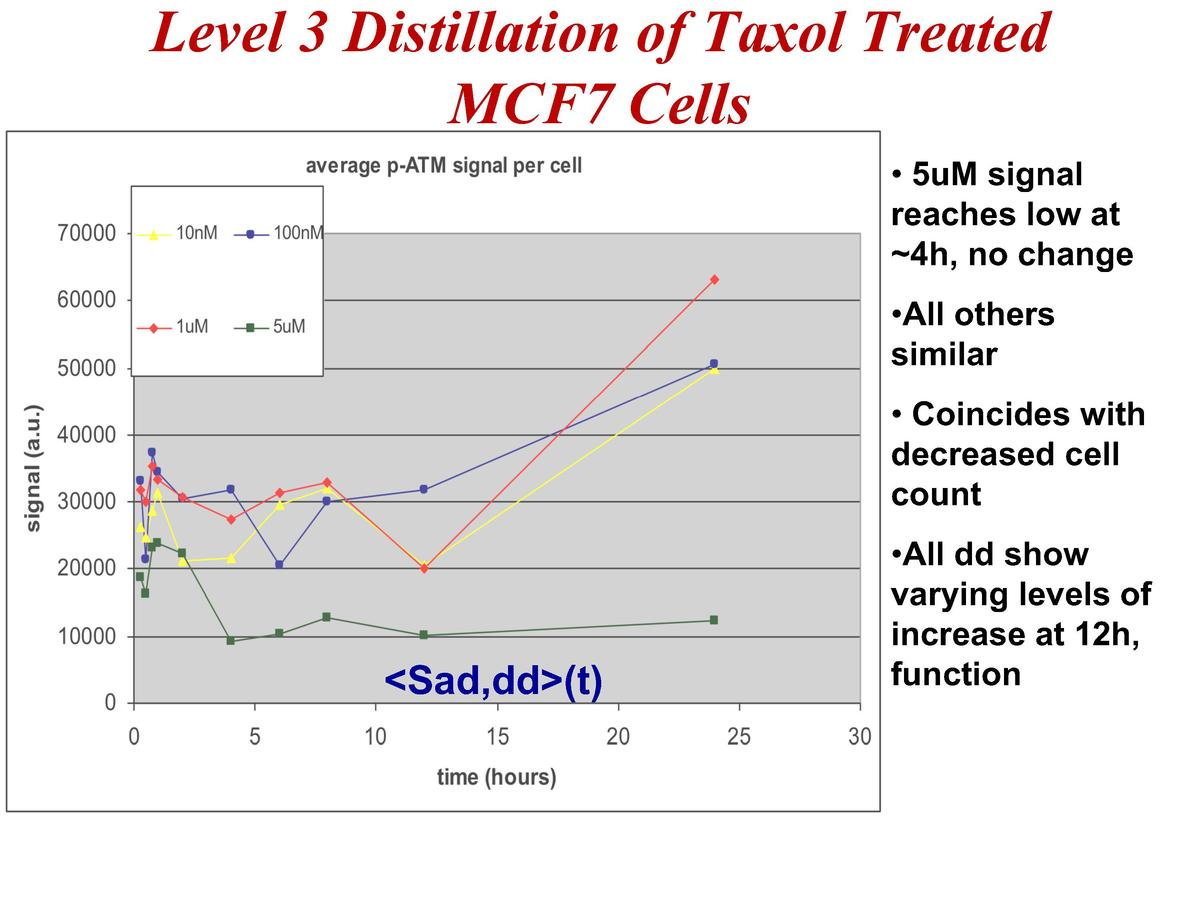 Level 3 Distillation of Taxol Treated MCF7 Cells     5uM signal reaches low at  4h, no change    All others similar     Co...