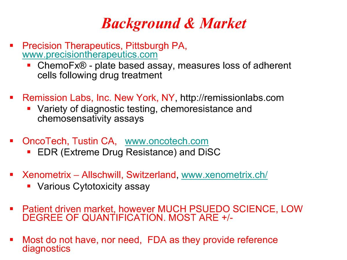 Background   Market    Precision Therapeutics, Pittsburgh PA, www.precisiontherapeutics.com    ChemoFx   - plate based ass...