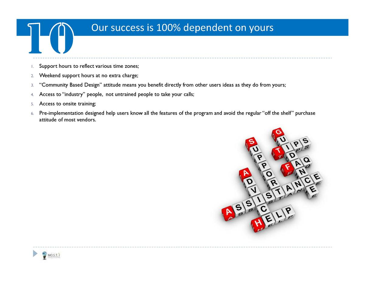 Our success is 100  dependent on yours  1.  Support hours to reflect various time zones   2.  Weekend support hours at no ...